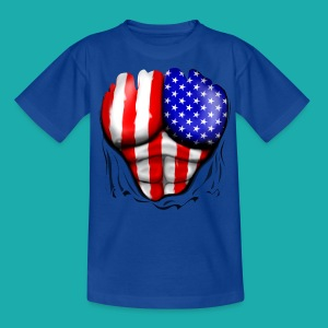America Flag Ripped Muscles, six pack, chest t-shi - Teenage T-shirt