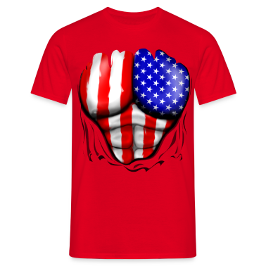 America Flag Ripped Muscles, six pack, chest t-shi