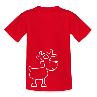 Red reindeer - elk Kids' Shirts