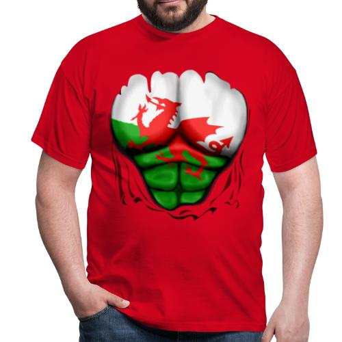 Wales Flag Ripped Muscles, six pack, chest t-shirt - Men's T-Shirt