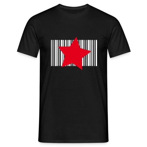 Tee-shirt étoile rouge sur code barre blanc - T-shirt Homme