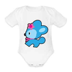 Baby retro dog long one piece - Organic Short-sleeved Baby Bodysuit