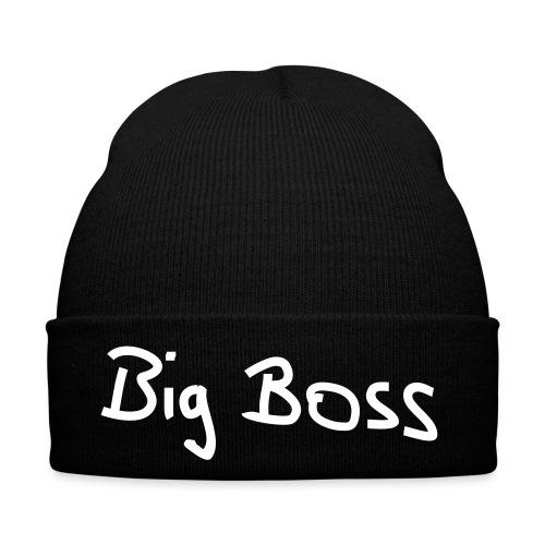 Wintermütze schwarz  Big Boss , Druck weiß - Flockdruck - Wintermütze