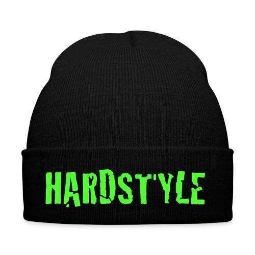Wintermütze dunkelgrün  Hardstyle , Druck neongrün - Flockdruck - Wintermütze