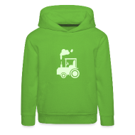Pullover & Hoodies ~ Kinder Premium Kapuzenpullover ~ Traktor (glow in the dark) - Kinder Kapuzenpullover
