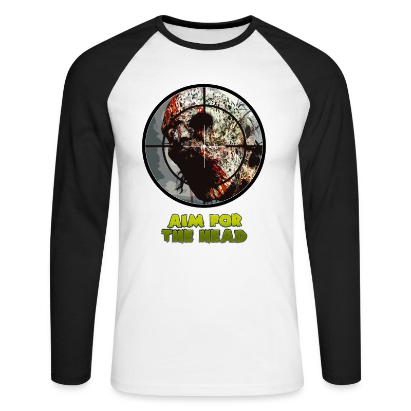 Aim For The Head. Mens Raglan Long Sleeve Tee - Men's Long Sleeve Baseball T-Shirt