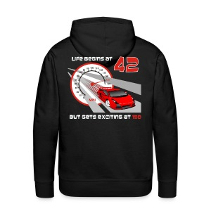 Car - Life begins at 42 - Men's Premium Hoodie