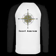 Langarmshirts ~ Männer Baseballshirt langarm ~ Windrose Gold/Silber (hinten)
