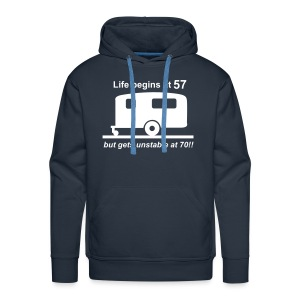 Life begins at 57 caravan - Men's Premium Hoodie