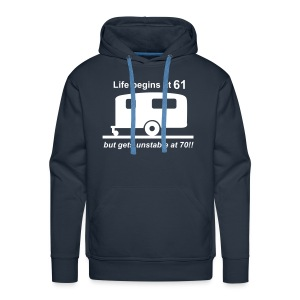 Life begins at 61 caravan - Men's Premium Hoodie
