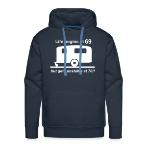 Life begins at 69 caravan - Men's Premium Hoodie