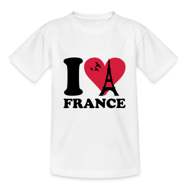 White I love France Kids' Shirts