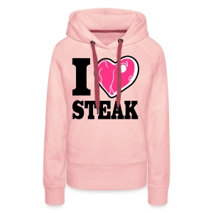 I LOVE STEAK girl hoodie pink - Frauen Premium Hoodie