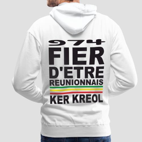 Sweatshirt à capuche Homme fier d'être réunionnais - 974 Ker Kreol - Sweat-shirt à capuche Premium pour hommes