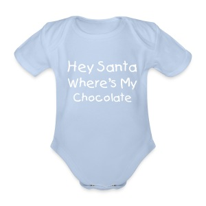 Hey Santa Wheres My Cholocate Baby Grow Red - Organic Short-sleeved Baby Bodysuit