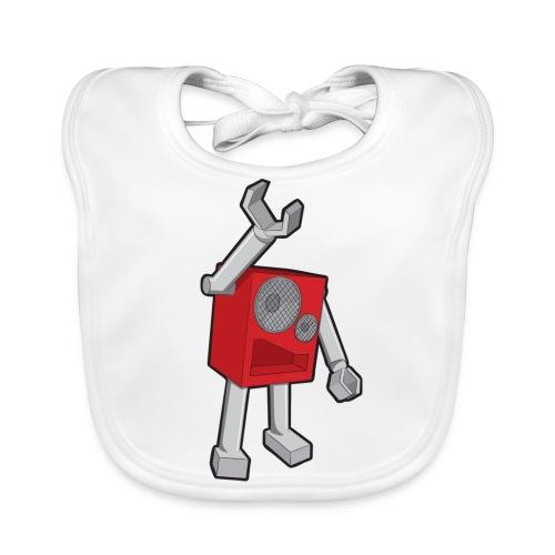 SpeekaBot Red - White Organic Bib - Baby Organic Bib