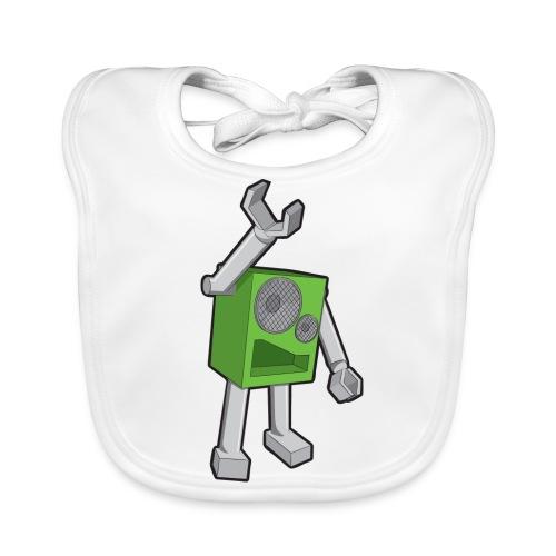 SpeekaBot Green - White Organic Bib - Baby Organic Bib