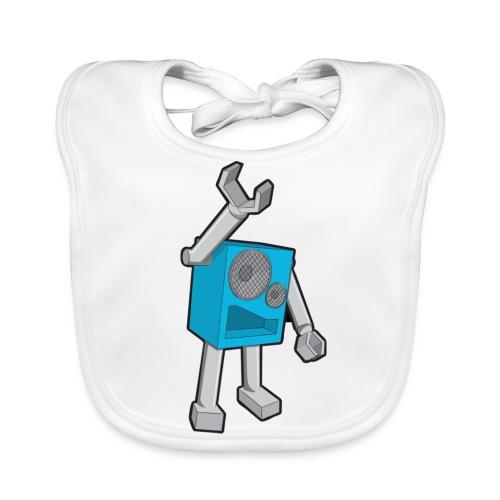 SpeekaBot Blue - White Organic Bib - Baby Organic Bib