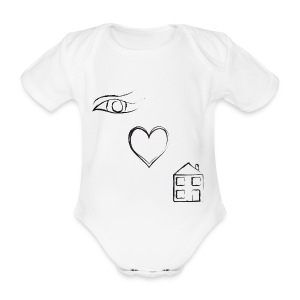 Eye Luv - White BabyGrow - Organic Short-sleeved Baby Bodysuit