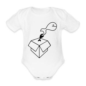 Big Fish - White BabyGrow - Organic Short-sleeved Baby Bodysuit