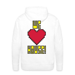 We Love House - Men's White Hoodie - Men's Premium Hoodie