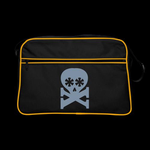 retrotasche, schwarz, typoskull - Retro Tasche