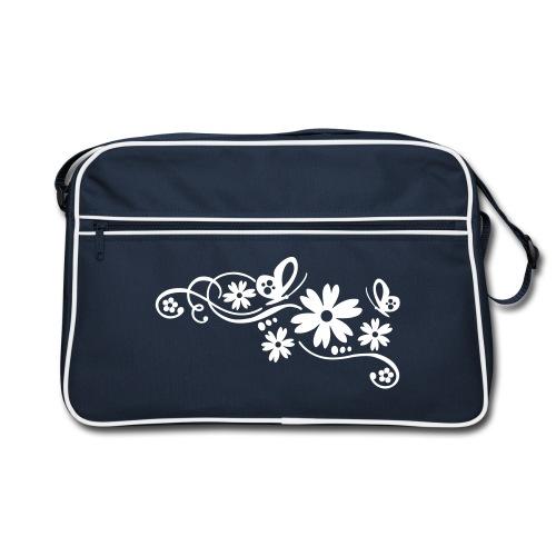 Sac Retro - Sac,bleu marine,déco,fleurs,floral,retro,vintage