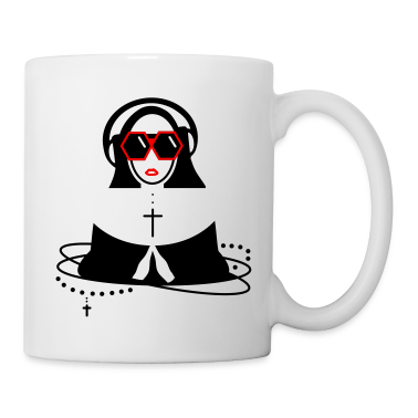 The nun  with sunglasses and headphones Mugs