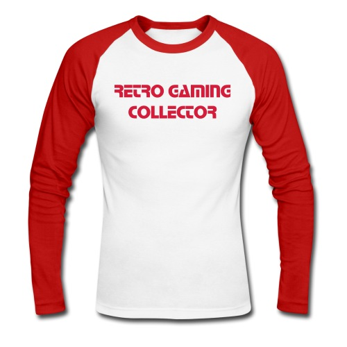 Retro Gaming Collector (Red) - Men's Long Sleeve Baseball T-Shirt