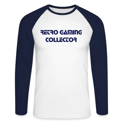 Retro Gaming Collector (Navy) - Men's Long Sleeve Baseball T-Shirt