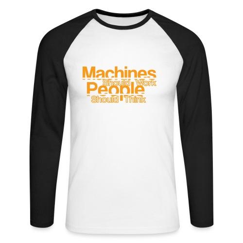 Koszulka męska bejsbolowa z długim rękawem - machine,ibm