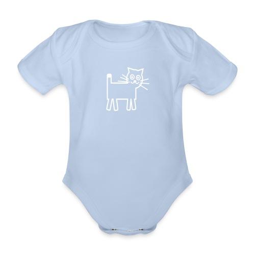 gato blanco - Body orgánico de maga corta para bebé