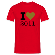 T-shirts ~ Mannen T-shirt ~ I Love 2011 - goud metallic