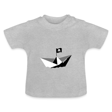 A paper boat with a pirate flag Baby Shirts