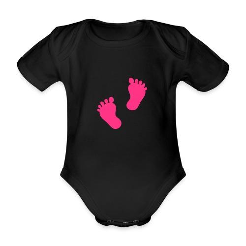 Body noir petits petons - Body bébé bio manches courtes