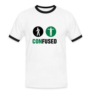 Confused T-Shirt, White/Black/Green - Men's Ringer Shirt