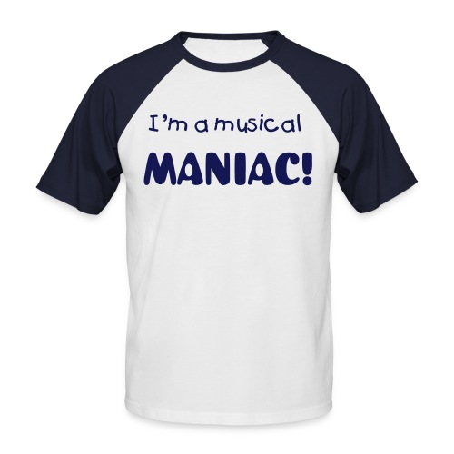 Musical Maniac mens T-Shirt - Navy/White - Men's Baseball T-Shirt
