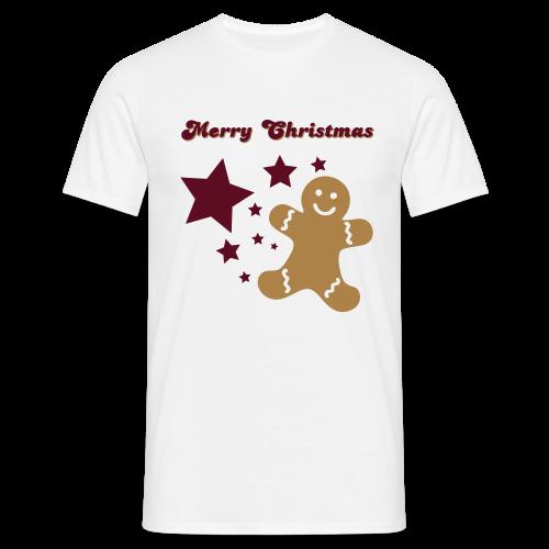 shirt merry christmas, lebkuchenmann, sterne - Männer T-Shirt