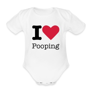 I Love Pooping - Organic Short-sleeved Baby Bodysuit