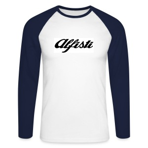 Alfisti (Big Logo) Raglan Navy Longsleeve - Men's Long Sleeve Baseball T-Shirt