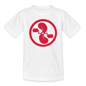 pedal power kid's red logo on white - Teenage T-shirt