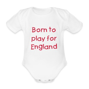 Born to play for England baby grow - Organic Short-sleeved Baby Bodysuit