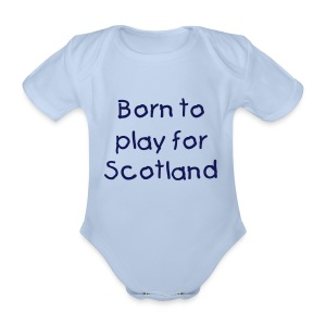 Born to play for Scotland baby grow - Organic Short-sleeved Baby Bodysuit