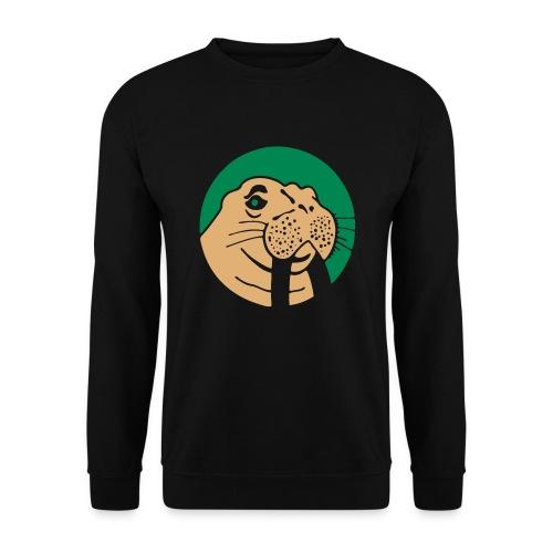 Walrus Crewneck Green/Beige Logo - Mannen sweater