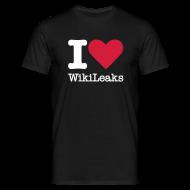 T-shirts ~ Mannen T-shirt ~ I Love WikiLeaks (witte opdruk)