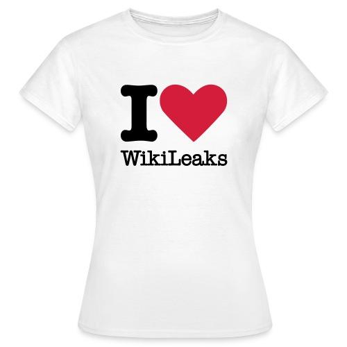 I Love WikiLeaks (zwarte opdruk) - Vrouwen T-shirt