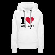 Sweaters ~ Vrouwen Premium hoodie ~ I Love WikiLeaks (zwarte opdruk)