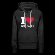 Sweaters ~ Vrouwen Premium hoodie ~ I Love WikiLeaks (witte opdruk)