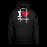 Sweaters ~ Mannen Premium hoodie ~ I Love WikiLeaks (witte opdruk)