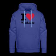 Sweaters ~ Mannen Premium hoodie ~ I Love WikiLeaks (zwarte opdruk)